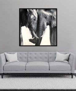 Two Elephants Oil Painting on Canvas